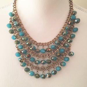 Blue, green, goldtone beaded Bibb necklace